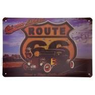Plaque vintage Pin-up et son hot rod sur la route 66