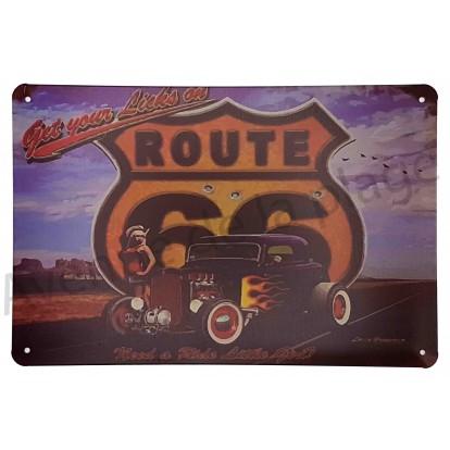 Plaque vintage hot rod sur la route 66