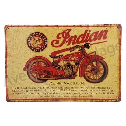 Plaque vintage moto ancienne Indian scout 101