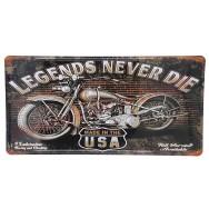 Plaque d'immatriculation US Moto Legends Never Die