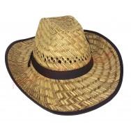 Chapeau de cowboy en paille tissus noir