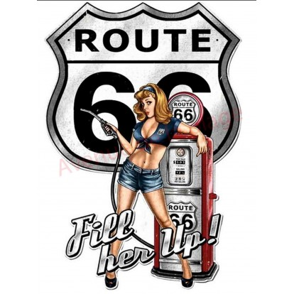 Plaque métal Pin-up sexy route 66