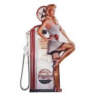 Plaque métal Pin-up sexy pompe à essence
