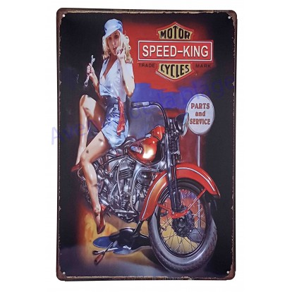 Plaque vintage Pin-up sur moto Speed-King Motor Cycles