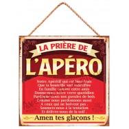 Pancarte métal La prière de l'apéro