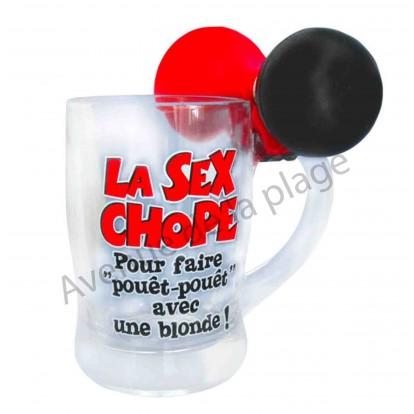Chope à bière humoristique La Sex Chope avec klaxon