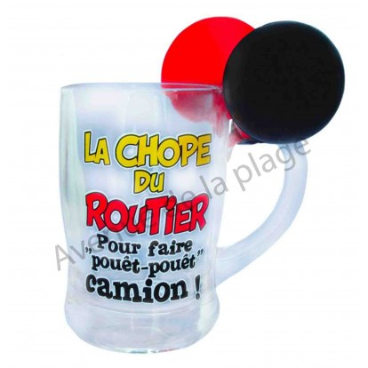 Chope à bière humoristique La Chope du routier avec klaxon