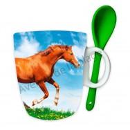 Mug avec cuillère cheval marron