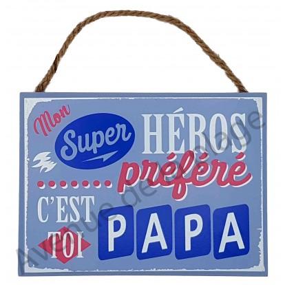 "Plaque message ""Papa Super héros"""