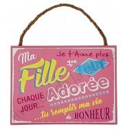 """Plaque message """"Ma fille adorée"""""""