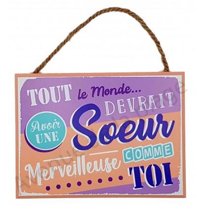 """Plaque message """"Soeur Merveilleuse"""""""