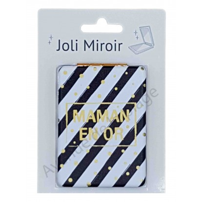 Miroir de poche message Maman en Or