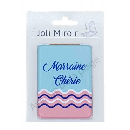 Miroir de poche message Marraine Chérie