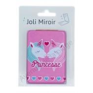 Miroir de poche message Princesse licorne
