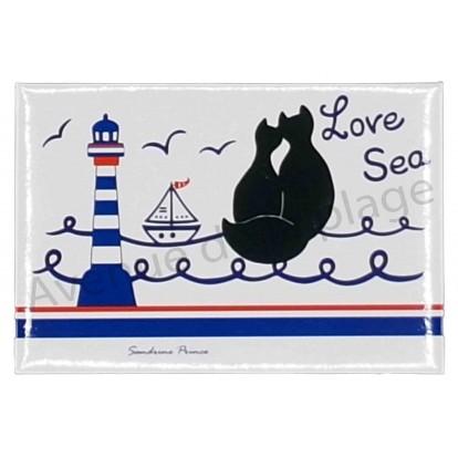 Magnet chat noir Love Sea