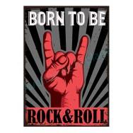 Plaque carton vintage Born to be Rock & Roll