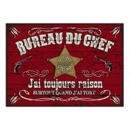 Plaque carton vintage Bureau du chef