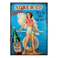 Plaque carton vintage Pin-up publicité Sober-up