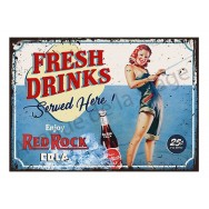 Plaque carton vintage Pin-up Fresh drink Cola