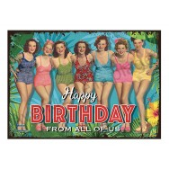 Plaque carton vintage Pin-up Happy Birthday