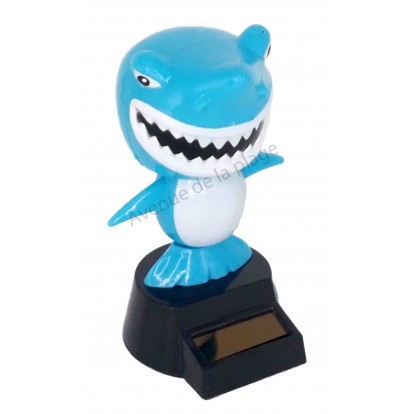 Figurine solaire requin bleu dansant