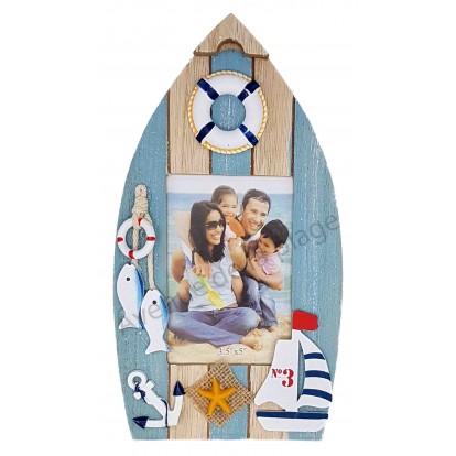 Cadre photo barque voilier couleur bois et turquoise