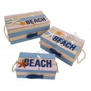 Ensemble de 3 coffrets en bois style marin Beach