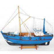 Maquette décorative chalutier bleu 46 cm