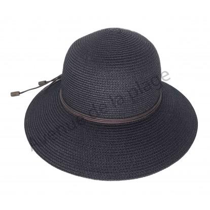 Chapeau noir femme rond et lacet