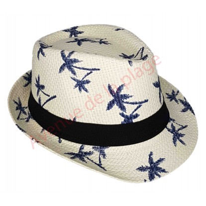 Chapeau adulte Borsalino blanc palmiers