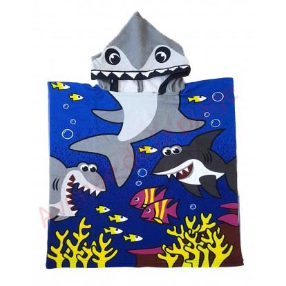 Poncho Requin blanc en microfibre