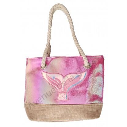 Mini sac de plage pour enfant queue de sirène rose