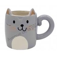 Mug chat gris Kawaii