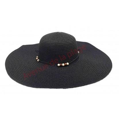 Chapeau capeline perle large bord noir