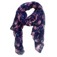 Foulard bleu marine Flamant rose