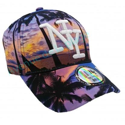 Casquette NY coucher de soleil sous les palmiers