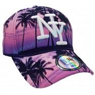 Casquette NY coucher de soleil violet palmiers