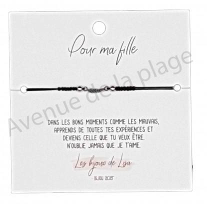 Bracelet message Pour Ma fille plume