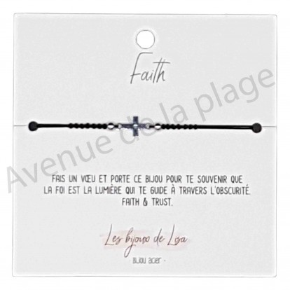 Bracelet message Faith croix
