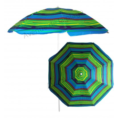 Parasol de plage anti UV 50+ à rayures colorées 140 cm A