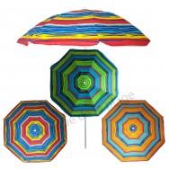Parasol de plage anti UV 50+ à rayures colorées 180 cm