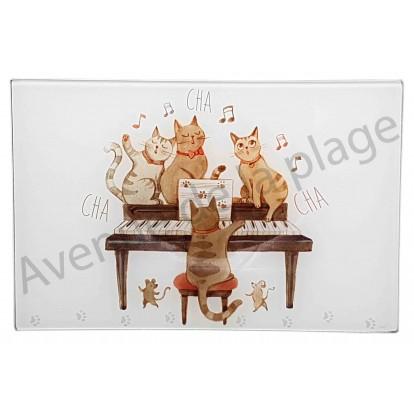 Planche à découper chat pianiste