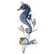 Hippocampe et poisson tropical en métal 66 cm