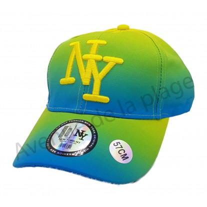 Casquette NY bicolore fluo jaune et bleue