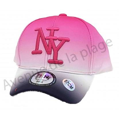 Casquette NY bicolore fluo rose et noire