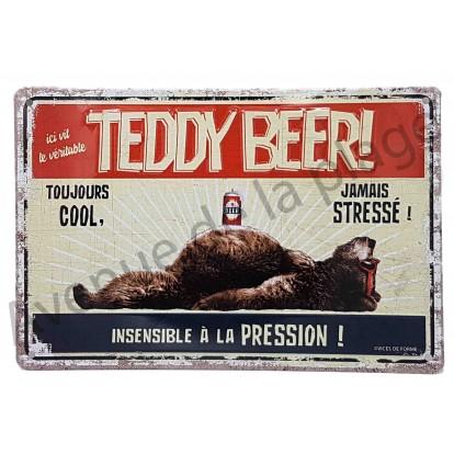 """Plaque vintage """"Ici vit un véritable Teddy Beer"""""""
