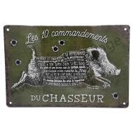 Plaque vintage Les 10 commandements du chasseur