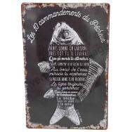 Plaque vintage Les 10 commandements du pêcheur