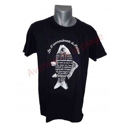 """T-shirt humoristique """"Les commandements du pêcheur"""""""