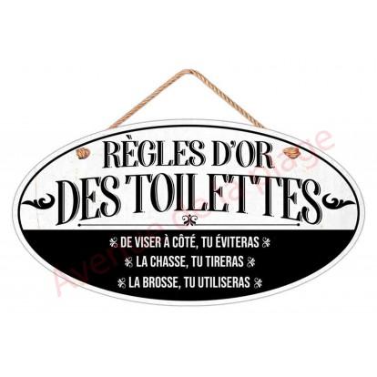 """Plaque de porte """"Règles d'or des Toilettes"""""""